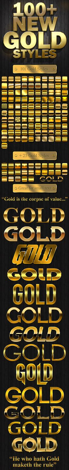 100+ New Gold Styles — Layered PSD #gold layer style #rich • Available here → https://graphicriver.net/item/100-new-gold-styles/5337340?ref=pxcr