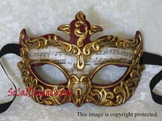Red, Gold Leaf & Music Note Paper Venetian Masquerade Mask