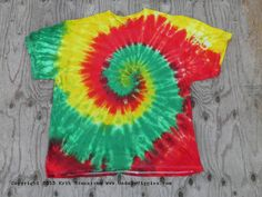 Red Green and Yellow Spiral Tie Dye TShirt