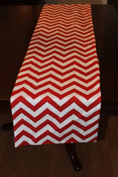 """Green  or Red Chevron Table Runner Reversible Lined Preppy Zig Zag Christmas - 12""""x72"""" by Magnolia Mommy Made"""