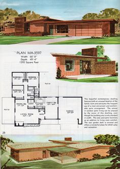 Mid Century Modern House Floor Plan Pin by David Carr On Mid Century Modern Modern House Floor Plans, Dream House Plans, Building Plans, Building A House, Vintage House Plans, Vintage Architecture, House Blueprints, Mid Century House, The Sims