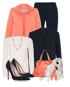 """Coral, White & Navy"" by bainbridgegal ❤ liked on Polyvore featuring Theory, D.Exterior, Yves Saint Laurent, Chloé, Gianvito Rossi, Anne Klein, Faliero Sarti and Kim Rogers"