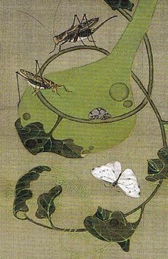 "Ito Jakuchu. 池辺群虫図 (""Insects at a Pond"" or ""Insects and Frogs at Pondside."") From the set of thirty Japanese hanging scrolls called ""Colorful Realm of Living Beings."" Edo period. Eighteenth century."