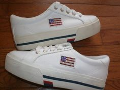 WOMENS 7 BEVERLY HILLS POLO CLUB white TENNIS SHOES sneakers SPARKLY FLAG emblem #BeverlyHillsPoloClub #FashionSneakers