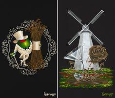 Michael Godard-I just love his art. Godard Art, Black Canvas Art, Wine Art, Fantastic Art, Banksy, Plant Hanger, Art Gallery, Cartoon, Christmas Ornaments