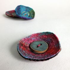 Felt Wool Brooch Pin with ceramic button by thatfuzzyfeelingetsy, £9.00