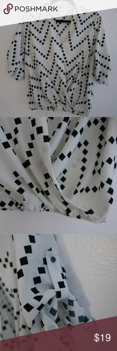 Black and white geometric print drape top White too with drape front and button tab sleeves. Features black geometric print. Super cute! Size small. Like new. Tops Blouses