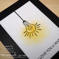 Love you a watt - Card Paper Divas, I Card, My Design, Stamps, Card Making, About Me Blog, Corner, Love You, Seals