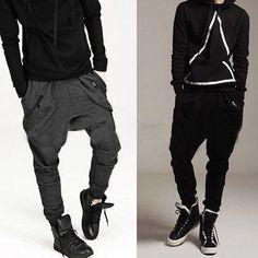 Newly Korean Mens Casual Sport Hip Hop Trousers Baggy Jogging Harem Sweat Pants #New #CasualPants