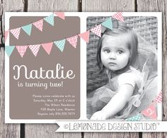 First Birthday Invitation Bunting Flags Banner Photo Printable Invite - Pink and Brown - 1 Year Old or 2 Year Old - Second Birthday. $15.00, via Etsy.