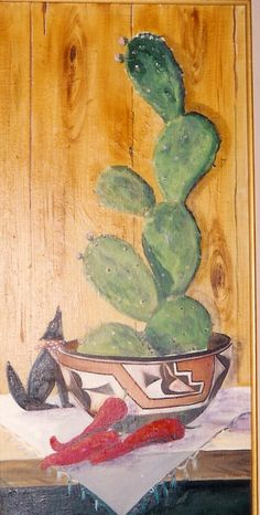 "Still life ""Cactus, Coyote, Peppers"" o/c 24x12 by Katherine Cook"
