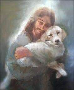 Jesus walked the earth as a man.The Bible don't say but I'll bet He had … Jesus walked on earth as a human being. The bible says nothing, but I bet he had a dog too Love My Dog, Animals And Pets, Cute Animals, Pet Loss Grief, Pictures Of Jesus Christ, Baby Jesus Pictures, Pet Remembrance, Jesus Art, Tier Fotos