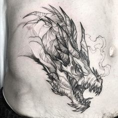 Best Ideas For Dragon Tattoo Desing Unique Black Tattoos, Cute Tattoos, Body Art Tattoos, Sleeve Tattoos, Dragon Head Tattoo, Dragon Tattoo Designs, Dragon Head Drawing, Targaryen Tattoo, Tattoo Cover