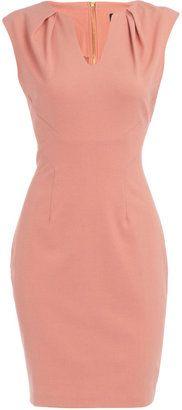 Peach pleat neck dress