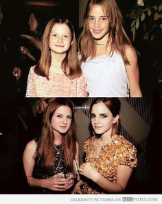 """Then and now: Bonnie Wright and Emma Watson - Funny """"then and now"""" photos of Bonnie Wright and Emma Watson as kids from Harry Potter (Ginny Weasley and Hermione Granger) and a photo of the two beautiful actresses as young ladies."""