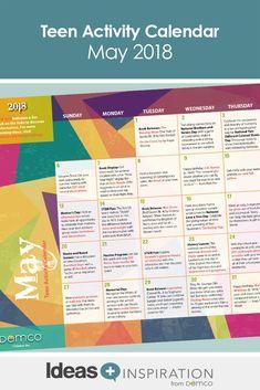 Month teen center activity calendar for council