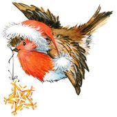 Зимняя малиновка птицы и рождественские украшения. части для карт или поздравлений. акварель — стоковое фото #60960525