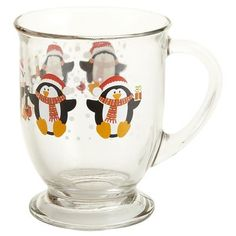 Holiday Penguin Glass Mug. I have a whole set--how cool is that? Love is Ageless http://susanhaught.com