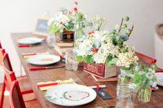 A Lovely Thyme - Red green white flowers tabletop