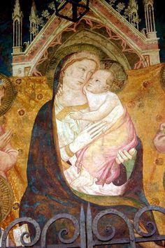 Niccolò di Pietro Gerini - Madonna in trono tra Santi, dettaglio - affresco - Tabernacolo di via delle Casine angolo via de' Malcontenti, Firenze