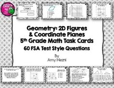 60 Geometry 2D Figures & Coordinate Planes Task Cards INK SAVER Version FSA Style Questions***Please Note: These task cards are the same set as the other color set. I just changed the backgrounds in this set so they did not use colored ink. There are colored images that will print well in black and white. ($)