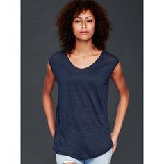 Gap Women Linen Cap Sleeve Tee ($30) ❤ liked on Polyvore featuring tops, t-shirts, regular, true indigo, cap sleeve top, curved hem tee, lightweight t shirts, scoop-neck tees and blue top