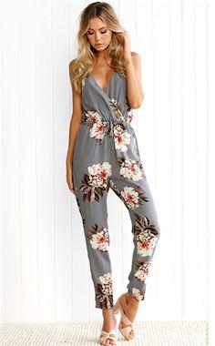 991811192b V-Neck Retro Floral Jumpsuit Pants. Seamido. Fitted JumpsuitFloral JumpsuitBackless  JumpsuitFloral PlaysuitLong JumpsuitsJumpsuits For WomenRompers ...