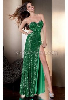 Dramatic Sequined Long Gown with High-slit
