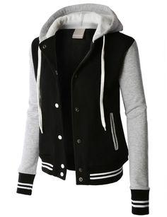 LE3NO PREMIUM Womens Contrast Sleeve Fleece Varsity Baseball Hoodie Jacket