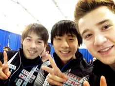 Mura Takahito(JAPAN) ,Yuzuru Hanyu(JAPAN) and Misha Ge(Uzbekistan) : World Figure Skating Championships 2013 in London(CANADA)