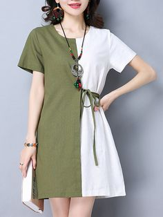 643feb9f9e1 Anysize with pockets joint contrast color Spring Fall linen dress ...