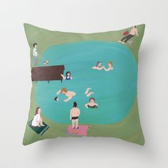 At the Quarry Pond Throw Pillow by Angela Dalinger