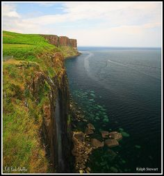 "Kilt Rock Staffin formed ""pleats"" during volcanic activity from view point. Isle of Skye Scotland"