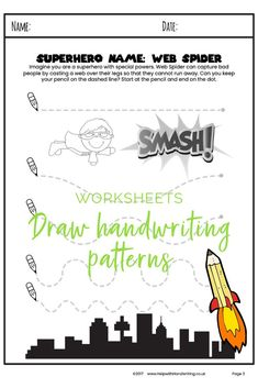 Do you have a child aged 4 to 5 years who is wanting to learn how to write? Discover these 7 superhero handwriting pattern worksheets. Each one helps improves your child's handwriting skills by teaching them the pencil movements needed to write letters. Handwriting for kids how to improve. #handwritingpatternseyfs #writingpatterns
