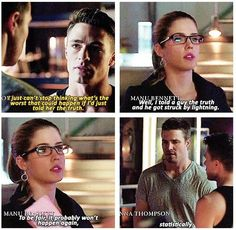 """Arrow - 2x18 Deathstroke - """"Well, I told a guy the truth and he got struck by lightning."""" - Roy & Felicity"""
