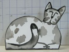 """""""Gray and White Cat""""  6"""" tall x 7"""" wide $9.99 ppd. to lower 48. Paypal"""