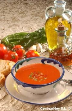 gazpacho andaluz amazing and fresh mediterranean style summer soup Mediterranean Recipes, Mediterranean Style, Portuguese Recipes, Spanish Food, International Recipes, Food Inspiration, The Best, Breakfast Recipes, Vegetarian Recipes