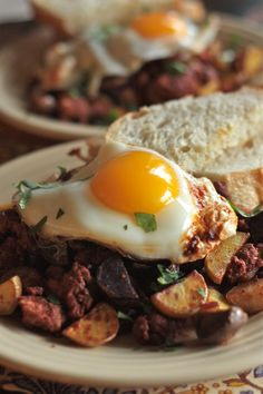 Chorizo Breakfast Hash with soft fried egg