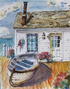 """Daily Paintworks - """"Fishermans Cottage"""" - Original Fine Art for Sale - © P. Watercolor Landscape, Watercolour Painting, Watercolours, Canvas Art, Canvas Prints, Art Prints, Fishermans Cottage, Cottage Art, Beach Art"""
