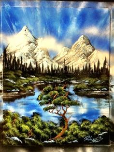 Mountain nature spray painting art by -Robert Stevens