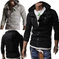 Black or gray? maybe both! :)    Unghea Mens Casual High neck Quilt Hoodie Zip Jacket BLACK/GRAY (HJ23)