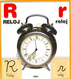 Material educativo para maestros: Abecedario con imagenes reales Alarm Clock, Chocolate, Animal, Board, Initials, Clock, Lights, Illustrations, Colors