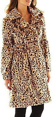 $191, Tan Leopard Fur Coat: jcpenney Excelled Leather Excelled Faux Fur  Swing Coat.