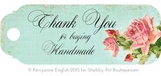 Shabby Art Boutique - Printable Handmade Tags to add to your handmade goods for sale