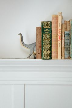The dinosaur bookends were a handmade Christmas gift from my sister, a prized possession for sure.