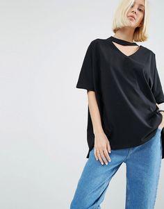 Bild 1 von ASOS WHITE – Oversize-T-Shirt mit V-Ausschnitt