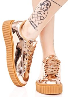 Rose Trophies Metallic Creeper Sneakers 7 1/2