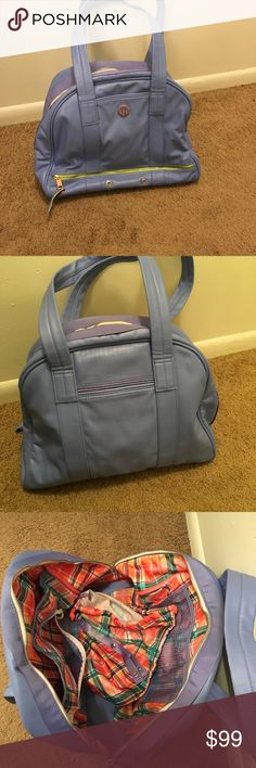 Stunning lululemon bag - Periwinkle/Rose Gold! Absolutely beautiful bag; holds TONS and has several compartments for your stuff, including a zipper shoe compartment underneath. Used once for Wanderlust festival. Great patterned interior. Laundry bag and yoga straps still attached to inside - were never used. Beautiful periwinkle light bluish purple color. Stunning bag. I have too many, I am told.... lululemon athletica Bags
