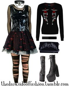 Punk Outfits, Gothic Outfits, School Outfits, Black Liquid Lipstick, Gothic Glam, Fishnet Top, Gothic Clothing, Cute Comfy Outfits, Nu Goth