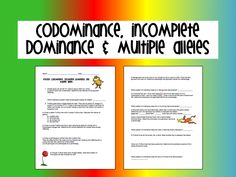 Printables Codominance And Incomplete Dominance Worksheet genetics incomplete dominance and codominance practice worksheet blog post from www biology roots com multiple